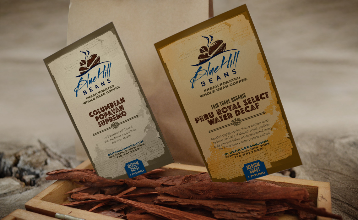 Blue Hill Beans Coffee Brand Identity and Packaging Design