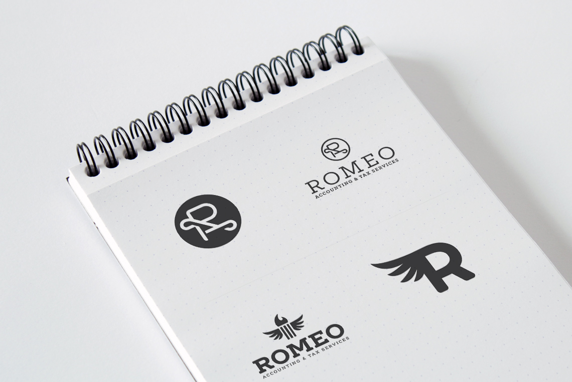 Romeo Accounting Logo Design Variations