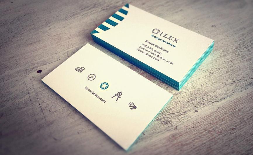 Ilex Consulting Letterpress Business Card Design by Typework Studio Logo Design Agency