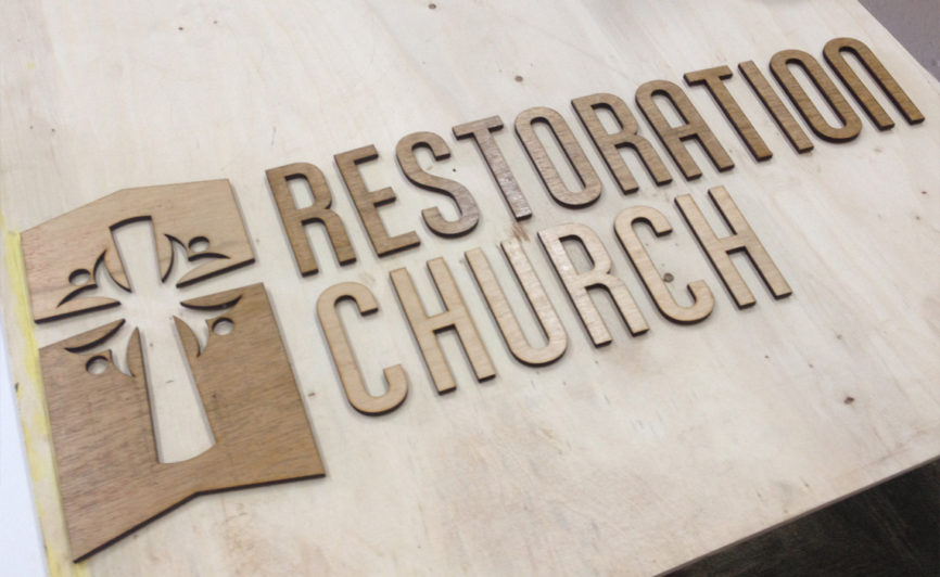 Restoration Church Wood Sign Design by Typework Studio Design Agency