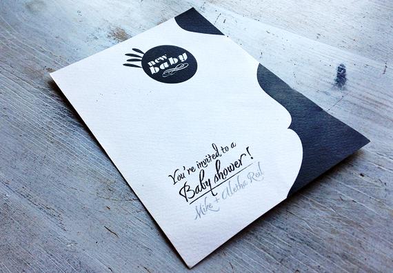Black and White Baby Shower Invitation Design by Typework Studio Design Agency