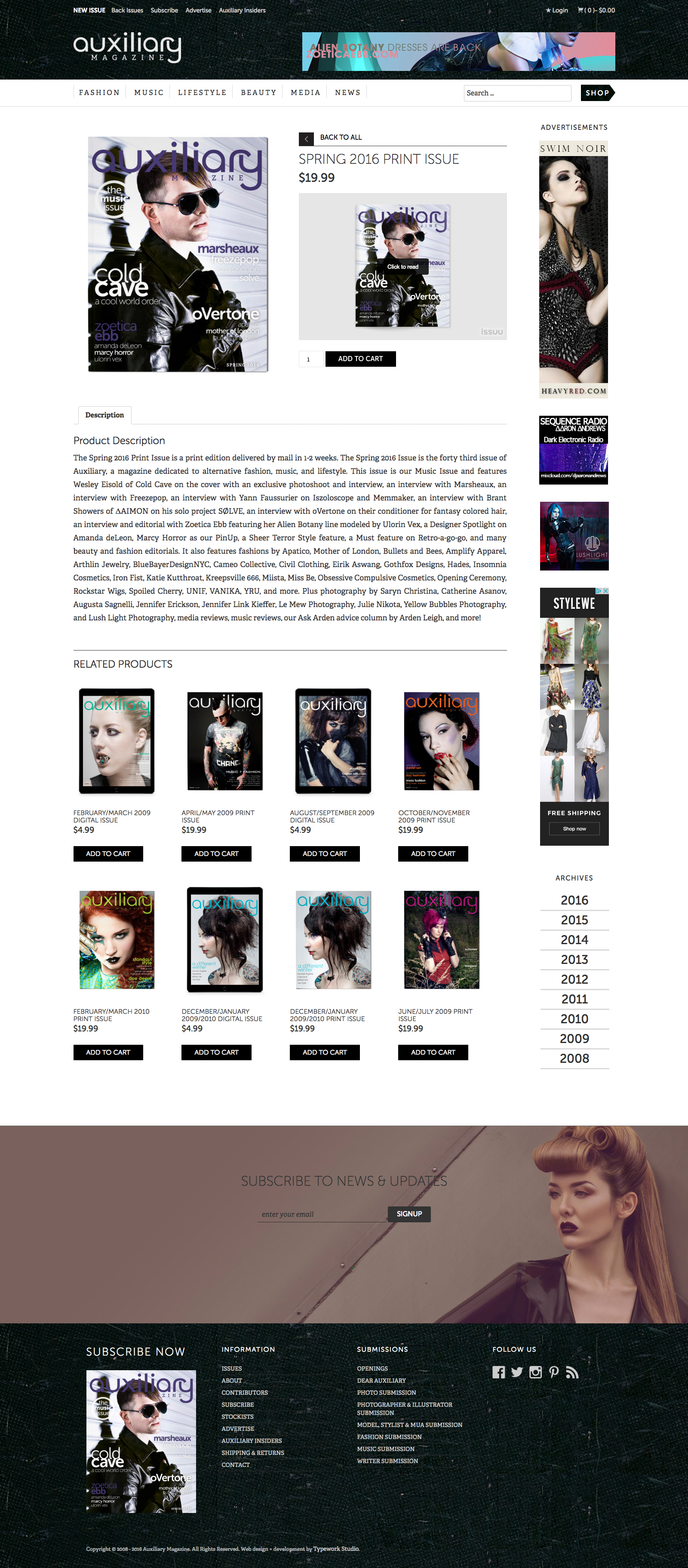 Auxiliary Magazine Fashion CMS Web Design