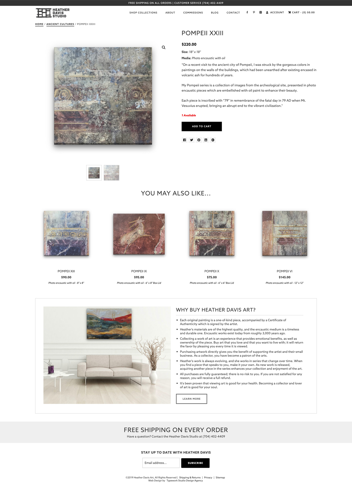 Heather Davis Fine Art CMS + Ecommerce Web Design - Product Page